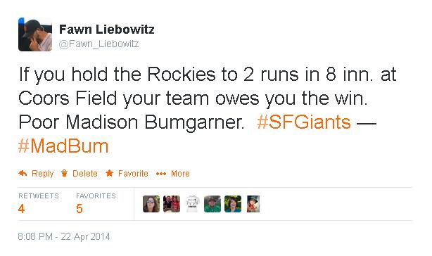 Tweets-FL-Bumgarner Loss-Rockies