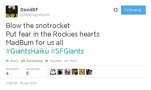 Tweets-SanDiegoGiants-Bumgarner Haiku