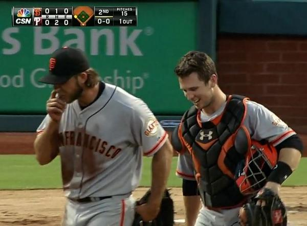 Giants-Bumgarner-Snotrocket-2014-07-23-Posey
