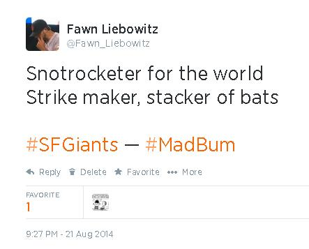 Tweets-FL-Bumgarner-Snotrocketer for the world