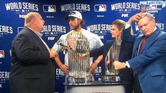 Giants-2014-World Series-Celebration-Bumgarner-MVP Trophy-Ceremony-Chevy Guy-Selig