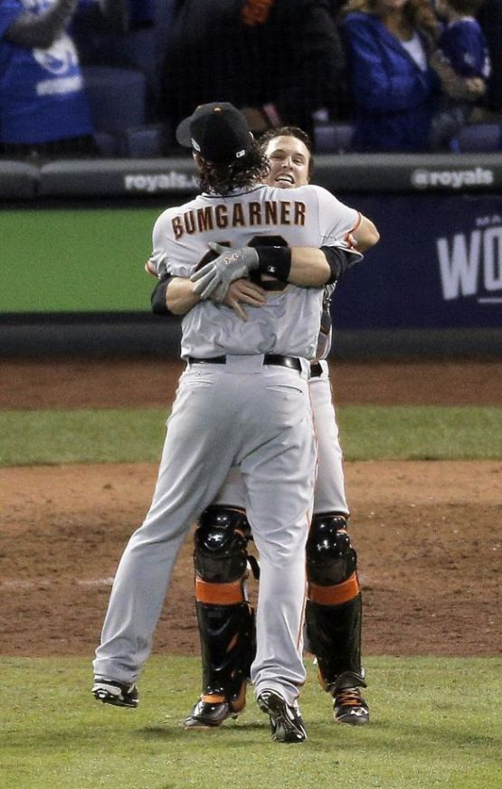 Giants-2014-World Series-Celebration-Bumgarner-Posey-Buster Hugs-1