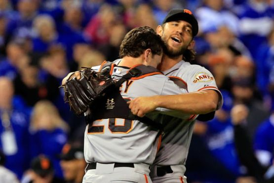 Giants-2014-World Series-Celebration-Bumgarner-Posey-Buster Hugs-2