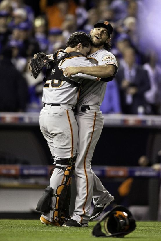 Giants-2014-World Series-Celebration-Bumgarner-Posey-Buster Hugs