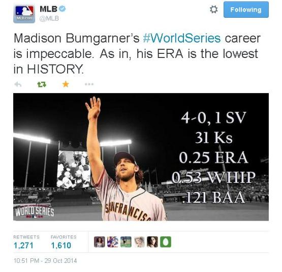 Giants-2014-World Series-Tweets-MLB-Bumgarner WS Stats