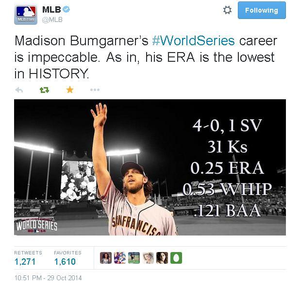 Giants-2014-World Series-Tweets-MLB-Bumgarner WS Stats