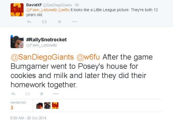 Tweets-FL-SanDiegoGiants-Bumgarner-Posey-Cookies And Milk