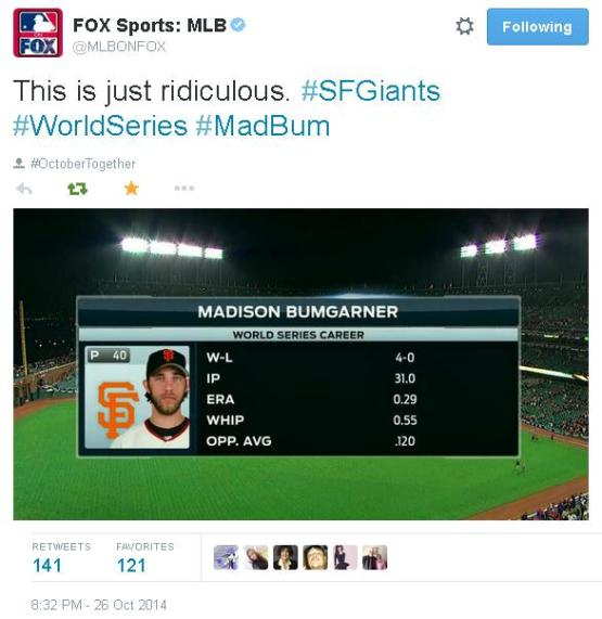 Tweets-MLBOnFox-Bumgarner-World Series Career-2014-1