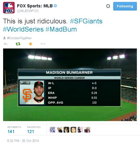 Tweets-MLBOnFox-Bumgarner-World Series Career-2014-1