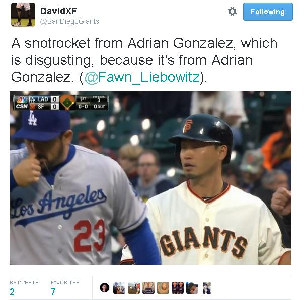 Giants-Dodgers-Gonzalez-Snotrocket-Tweet-2015-04-21
