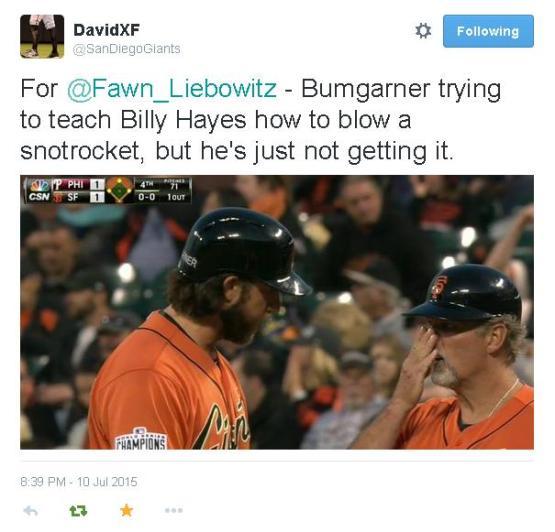 Giants-Bumgarner-Snotrocket-2015-07-10-Billy Hayes-Tweet