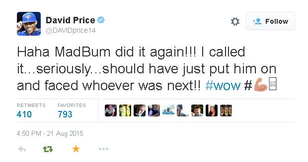 Tweets-David Price-Bumgarner Home Run-2015