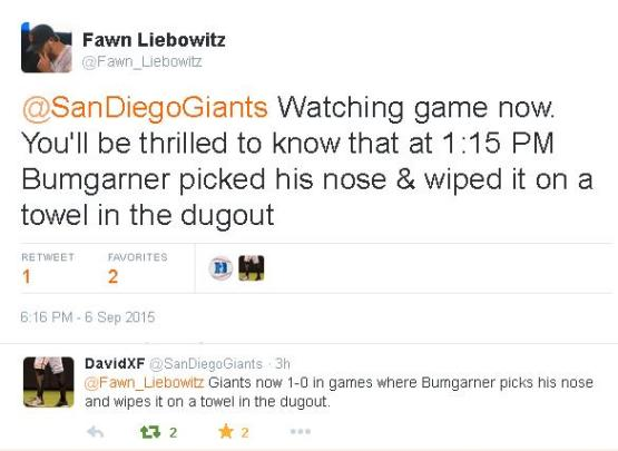 Giants-Bumgarner-Snotrocket-Tweet-Nose Pick-Towel-2015-09-06