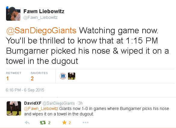 Giants-Bumgarner-Snotrocket-Tweet-Nose Pick-Towel-2015-09-06
