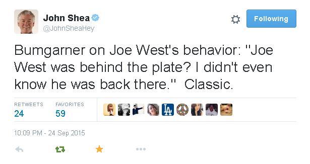 Tweets-JohnSheaHey-Bumgarner-Joe West-2015