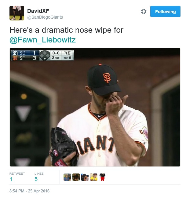 Giants-Bumgarner-Snotrocket-Dramatic Nose Wipe-2016-04-25-Tweet