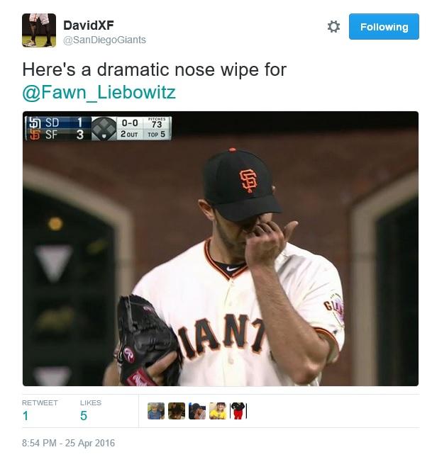 Giants-Bumgarner-Snotrocket-Dramatic Nose Wipe-2016-04-25-Tweet