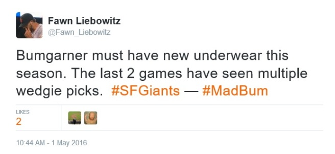 Giants-Bumgarner-Snotrocket-2016-05-01-Multiple Wedgie Picks-Tweet
