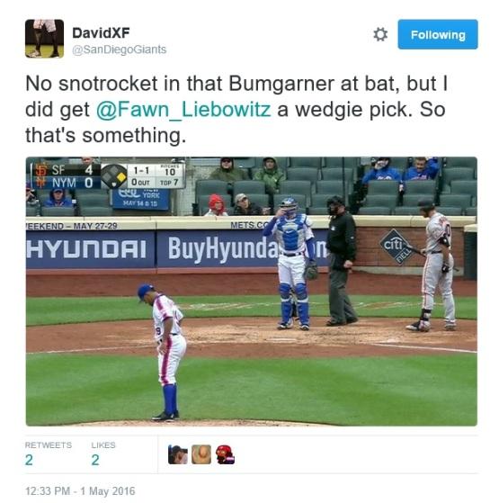 Giants-Bumgarner-Snotrocket-2016-05-01-Wedgie Pick-Tweet