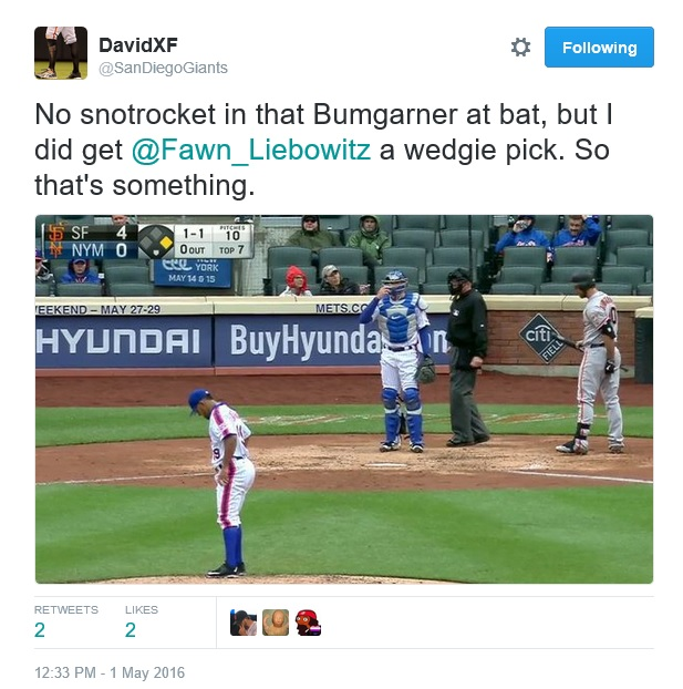 Giants-Bumgarner-Snotrocket-2016-05-01-Wedgie Pick-Tweet