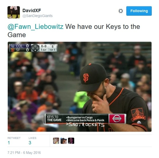 Giants-Bumgarner-Snotrocket-2016-05-06-Keys To The Game-Tweet
