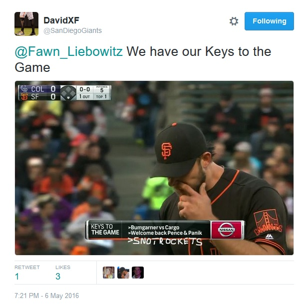 Giants-Bumgarner-Snotrocket-2016-05-06-Keys To The Game-Tweet
