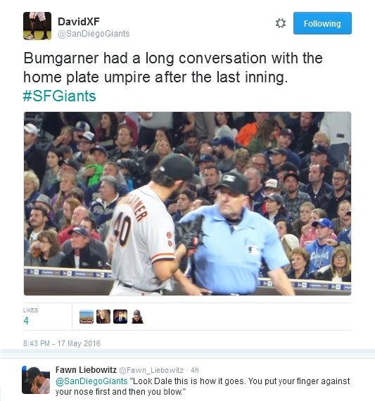 Giants-Bumgarner-Snotrocket-2016-05-17-4-Umpire-Scott-Tweet