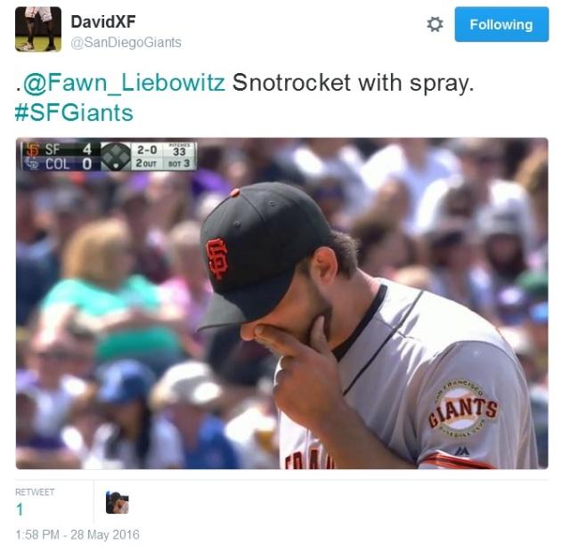 Giants-Bumgarner-Snotrocket-2016-05-28-Tweet-SanDiegoGiants