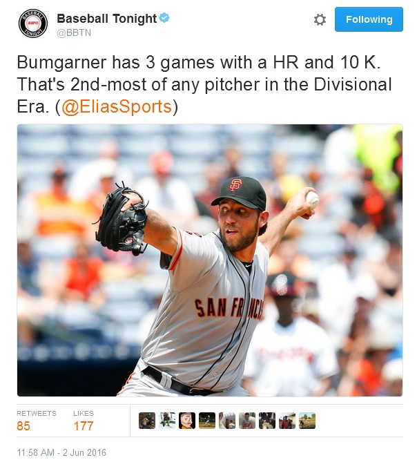 Giants-Bumgarner-Snotrocket-2016-06-02-Tweet-Baseball Tonight