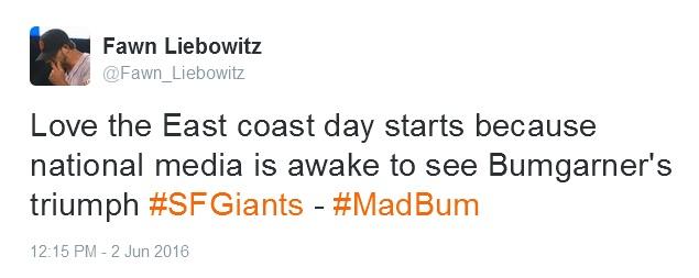 Giants-Bumgarner-Snotrocket-2016-06-02-Tweet-East Coast Day Start