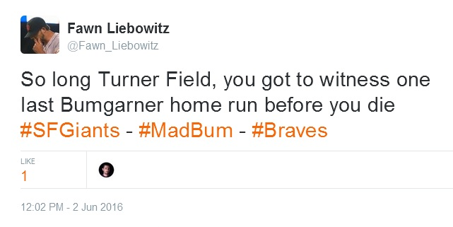 Giants-Bumgarner-Snotrocket-2016-06-02-Tweet-FL-Turner Field