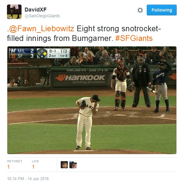 Giants-Bumgarner-Snotrocket-2016-06-14-Tweet-SanDiegoGiants