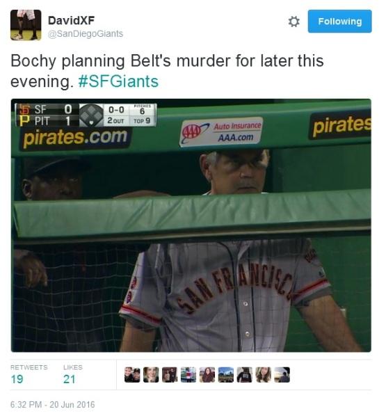 Giants-Bumgarner-Snotrocket-2016-06-20-Bochy-Belt Murder