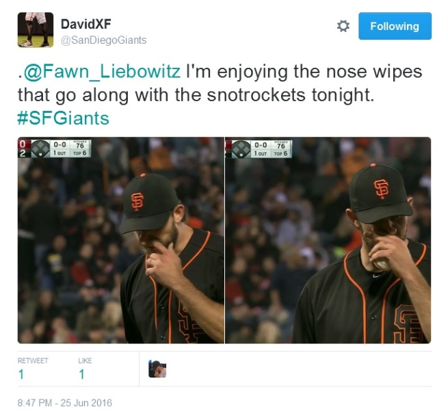 Giants-Bumgarner-Snotrocket-2016-06-25-4-Tweet