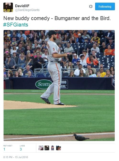 Giants-Bumgarner-Snotrocket-2016-07-15-Tweet-SanDiegoGiants-Bird