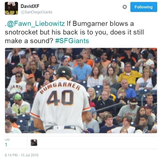 Giants-Bumgarner-Snotrocket-2016-07-15-Tweet-SanDiegoGiants