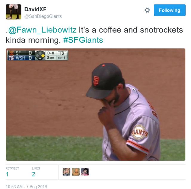 Giants-Bumgarner-Snotrocket-2016-08-07-Tweet-SDG-Coffee Morning