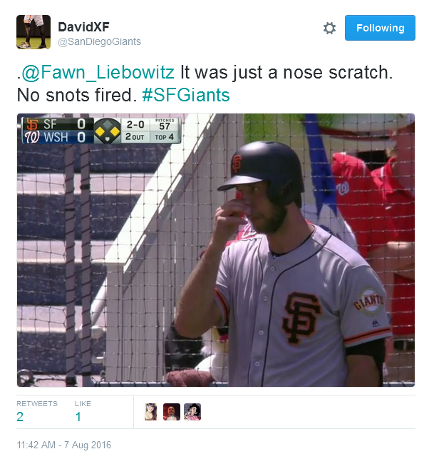Giants-Bumgarner-Snotrocket-2016-08-07-Tweet-SDG-Nose Scratch