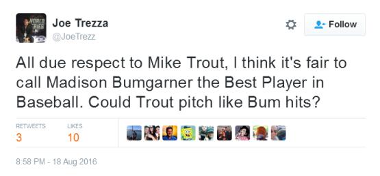 Giants-Bumgarner-Snotrocket-2016-08-18-Tweet-JoeTrezz-Bumgarner-Trout