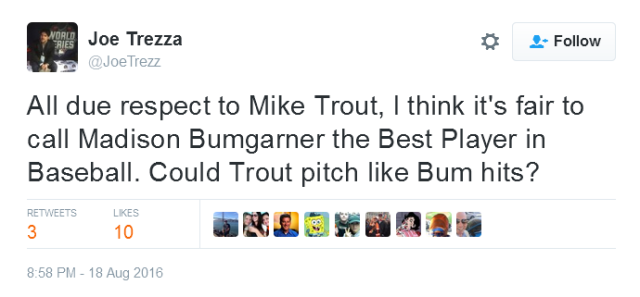 Giants-Bumgarner-Snotrocket-2016-08-18-Tweet-JoeTrezz-Bumgarner-Trout