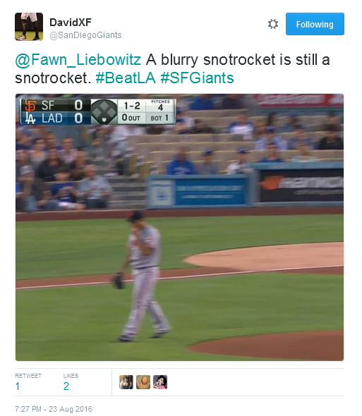 Giants-Bumgarner-Snotrocket-2016-08-23-Blurry-Tweet
