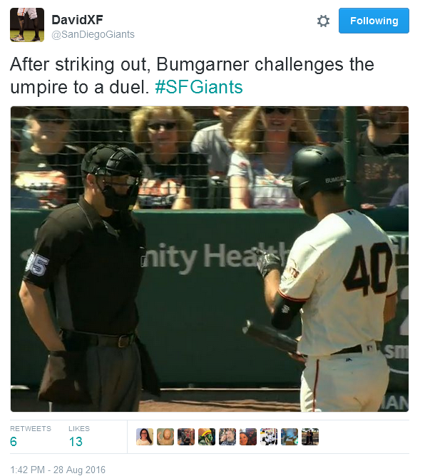 Giants-Bumgarner-Snotrocket-2016-08-28-Duel Challenge-Tweet