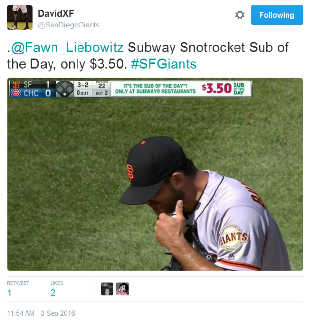 Giants-Bumgarner-Snotrocket-2016-09-03-2-Tweet