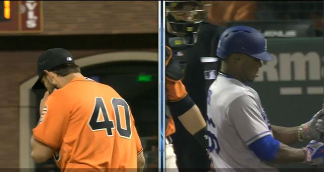 giants-bumgarner-snotrocket-2016-09-30-3-split-screen-puig