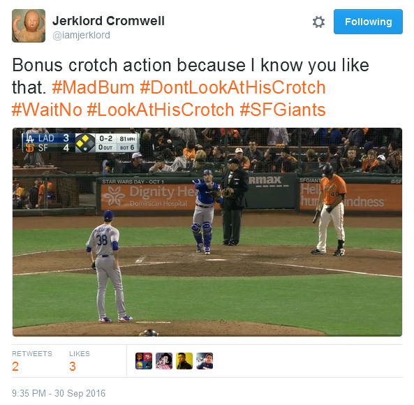 giants-bumgarner-snotrocket-2016-09-30-crotch-action-tweet
