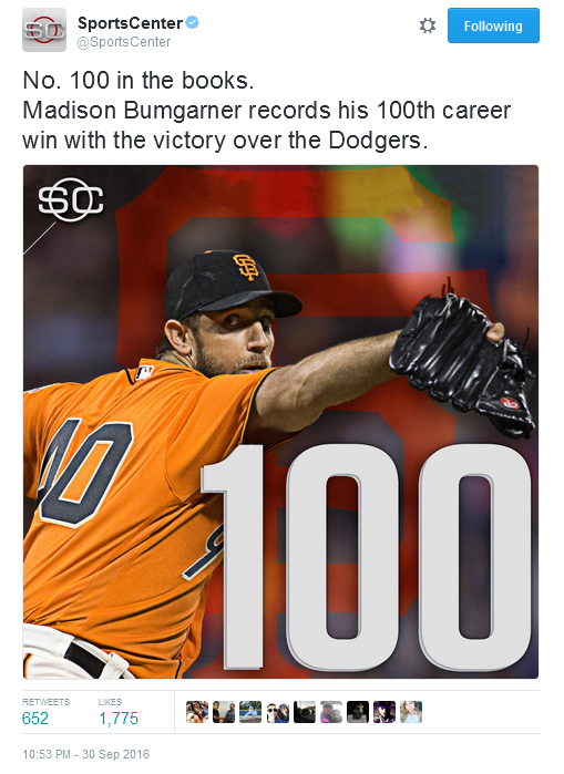 giants-bumgarner-snotrocket-2016-09-30-tweet-100-wins