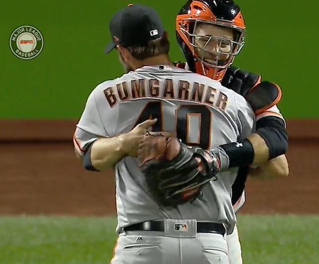 giants-bumgarner-snotrocket-2016-wild-card-buster-hug