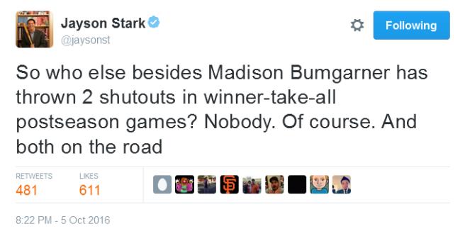 giants-bumgarner-snotrocket-2016-wild-card-tweet-jaysonst-two-shutouts